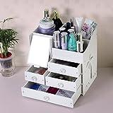 Badablagen & -regale-TRRE Schreibtisch kosmetische Aufbewahrungsbox mit Spiegel Oversized Koreanischen Schublade Dresser Hautpflege Shelf (Farbe : Weiß)