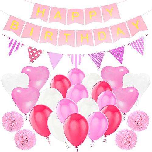 Sundell Geburtstag Party Dekorationen, Happy Birthday Buchstaben Banner Fahnen, Triangle Bunting Flag, 9 Seidenpapier Pompom Balls, 20...