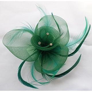 Large Net Flower & Feather Diamante Fascinator On Beak Clip & Brooch Jade Green Ref: 4003