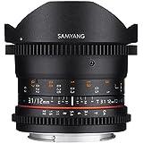 SAMYANG 13012T3.1O 12 mm T3.1 VDSLR ED AS NCS Objektiv für Anschluss Fish-Eye Olympus 4/3 schwarz