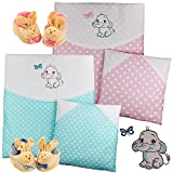 4-tlg.Set Baby Bettwäsche Decke Kissen für Kinderwagen Stubenwagen Wiege Garnitur - GRATIS Erstlingsschuhe (Türkis)