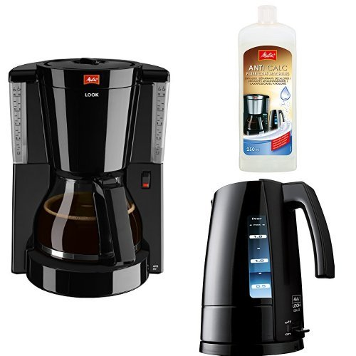 Melitta 1011-02 Look Kaffeefiltermaschine + Melitta 192618 Flüssigentkalker + Melitta H 205-0202...