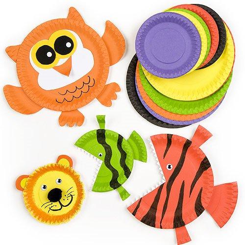 Bunte Pappteller im Vorteilspack - zum Basteln für Kinder beim Geburtstag und Party - 36 Stück -