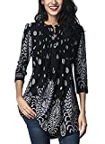 FIYOTE Womens Casual 3/4 Sleeve Floral Print Loose Tunic Long Blouse and Tops Large Black