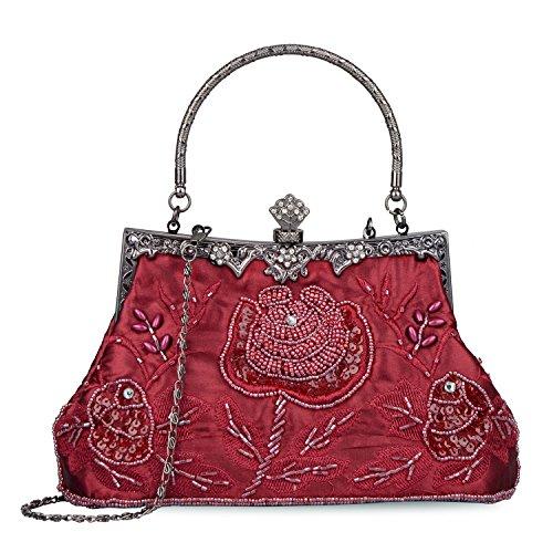 Perlen Bestickte Abendtasche (KISSCHIC Damen Handtasche Vintage Rose bestickt Perlen Pailletten Abendtasche Hochzeit Party Clutch Geldbörse, Rot (weinrot), Large)