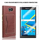 Blackberry-Priv-Case,Kupx-Blackberry-Priv-Pu-Leather-Wallet-Protective-Cases-With-Stand-Card-Holder-For-Blackberry-Priv-With-1-Screen-Protector-Brown