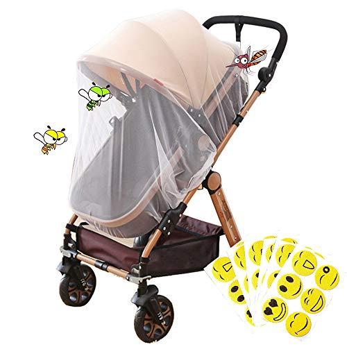 Kit Zanzariera Universale Bianca per Passeggino+30pz Adesivi Antizanzare Bambini Protezione per Ovetto Carrozzina Culle Zanzare Insetti (Diametro: 145 cm)