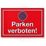 Parken Verboten Kunststoff Schild (rot, 30 x 20cm), Parkverbotsschild Einfahrt, Garage, Stellplatz Parkplatz, Privatparkplatz/Privatgrundstück, Hinweisschild Parkplatz freihalten - Parkverbot