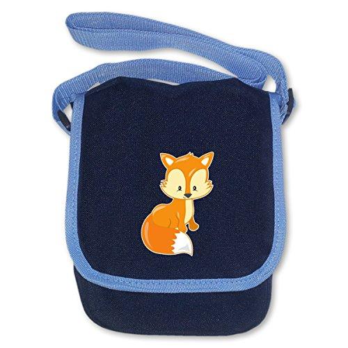 plot4u Kindergartentasche Süßer Fuchs für Kindergarten und Freizeit Umhängetasche Bag Base® BagBase Mini Reporter 17x23x7cm navy blau
