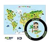 El mapamundi para niños - XXL Póster - 118,8 x 84 cm - Mapa del mundo para niños con personajes...