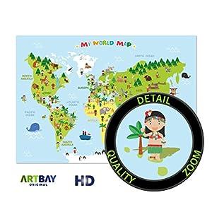 ARTBAY El mapamundi para niños – XXL Póster – 118,8 x 84 cm – Mapa del mundo para niños con personajes alegres y animales – Aprender los continentes diferentes, las culturas y los animales en el mundo