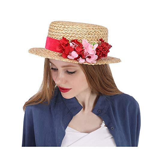 HUI NI Stroh Sonnenhut mit roten Blumen Stroh Bootsfahrer Hut Kentucky Derby Hut, rote Blume Hut, Blume Rennen Hut rot, Florale Kirchenhüte, breiter Krempe Hut (Color : Natural, Size : 56-58cm)