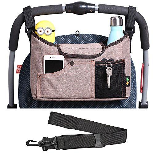 Kinderwagen Organizer, AMZNEVO Bester Baby Jogger Buggy Organizer Tasche mit Zwei Becherhalter, Universale Kinderwagen tasche, Stauraum für Baby Zubehör (braun) (Neugeborenen-braun-oxford)