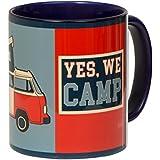 Hochwertige Kaffetasse YES WE CAMP mit VW Bulli-Design im OBAMA-Stil für Camping und Büro - blaue Innentasse und Henkel - spülmaschinenfest aus Keramik - von tassenWERK.com