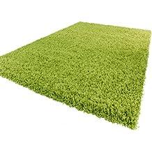 Alfombra Sky Lisa De Pelo Alto Largo Estilo Shaggy En Verde, tamaño:160x220 cm