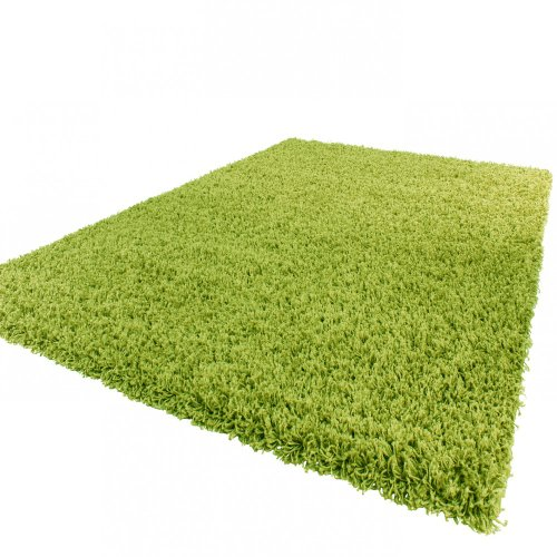 Shaggy Hochflor Langflor Teppich Sky Einfarbig in Grün, Grösse:Ø 80 cm Rund