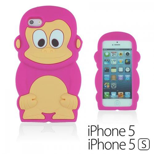 OBiDi - 3D Singe Coque en Silicone / Housse pour Apple iPhone 5S / Apple iPhone 5 - Hot Pink Hot Pink