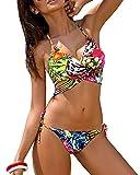 Minetom Été Sexy Push Up Rembourré Maillot De Bain Femme Bikini 2 Pièces Beachwear Swimwear Cou V Style Hawaïen Imprimé Swimsuit Élégant Pink FR 44