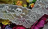 Ribbon Queen 5,1cm/38mm Ivory Skull und Crossbones Vintage Stil Spitze trimmen Bridal Hochzeit Zierrand Emo Goth Steampunk Biker Meterware