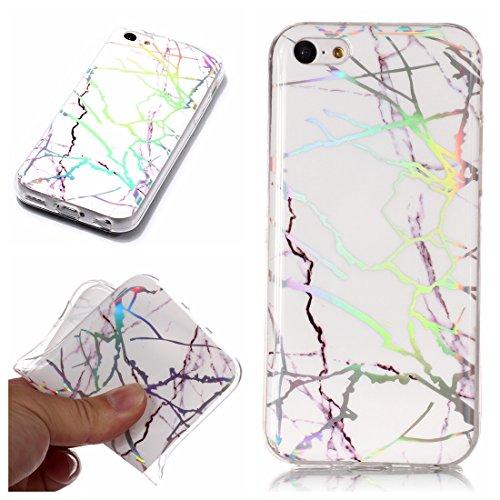 iPhone 5C Hülle,Lotuslnn Marmor Serie Flexible TPU Silikon Schutz Handy Hülle Handytasche HandyHülle Etui Schale Case Cover Tasche Schutzhülle für Apple iPhone 5C(mit 1 Touchstift) - Weiß
