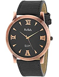 RELISH RE-C8033CB Copper Case Black Dial Analog Watch For Mens & Boys