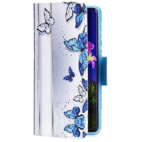 Uposao Kompatibel mit Xiaomi Mi 8 Lite Handyhülle Handytasche Retro Bunt Muster Schutzhülle Flip Case Brieftasche Klapphülle Wallet Leder Hülle Cover Tasche Magnet,Blau Schmetterling
