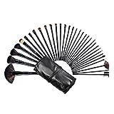 BeautyWill 32-teiliges Make-Up Bürsten Set. Professioneller Kosmetikpinsel für Augen, Gesicht, Lidschatten, Eyeliner, Foundation, Rouge mit Beutel Schwarz