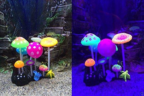 Uniclife Glowing Effect Artificial Mushroom Aquarium Plant Decor Ornament Decoration for Fish Tank Landscape 8