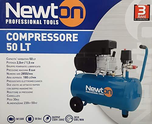 Compressore Newton Lt 50 Made in Italy 2,0 hp 1,5 kw 8 bar 180 lt/min 2850 giri min