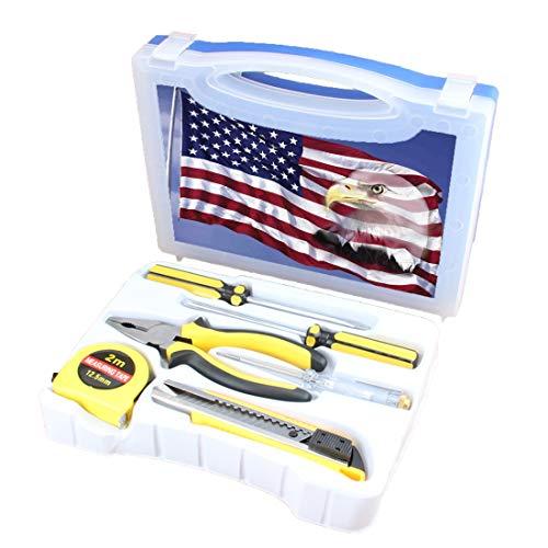 Praktisches Werkzeugset Kombination Haushalts-Deko mit amerikanischer Flagge Basisausstattung für Heimwerker-Handwerkzeuge Inklusive Schraubendreher, Zange, Maßband, Teststift, Schneidewerkzeug, Segne -