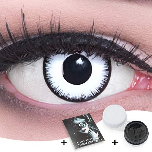 Weiße Crazy Zombie Fun Kontaktlinsen 1 Paar Farbige Weiße Lunatic Kontaktlinsen Ohne Stärke mit Behälter. Perfekt zu Halloween, Karneval, Fasching oder Fasnacht ohne Sehstärke
