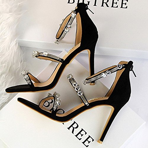 Oasap Women's Metal Chain Rhinestone Open Toe Stiletto Heels Sandals Black