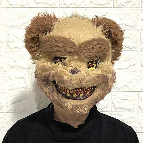 Halloween Maske Horrible Bear Head Maske Horror Cosplay Maske für Erwachsene Kostüm Party Cosplay Requisiten Maskerade Braun 13,8x9,8 Zoll (Bear Head Kostüm)