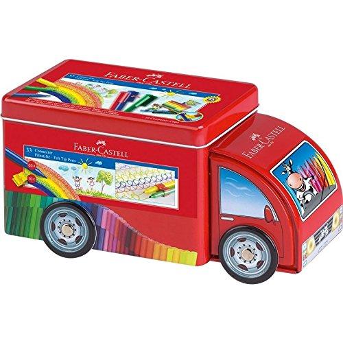 Faber-Castell 55533 - Camión de metal con 33 rotuladores Connector, 10 conectores y 1 folleto, multicolor