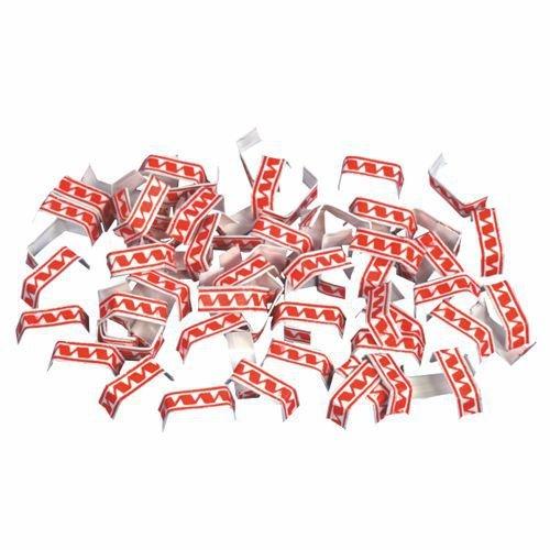 Verschluss-Clips, drahtverstärktes Papier 3,4 cm x 0,8 cm x 0,1 cm rot/weiss, 1000 Stück (Papier-verschluss)