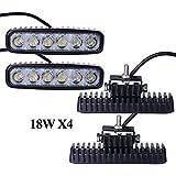 Leetop 4X 18W LED Barre de Travail Phares étanche Longue Portée Led Projecteur pour Véhicule Tout-terrain ATV Jeep Bateaux SUV Camion Voiture 10-30V DC