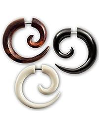 Fly Style® - 1 Stück - Schlichte Fake Piercing Spirale aus Horn, Knochen oder Holz