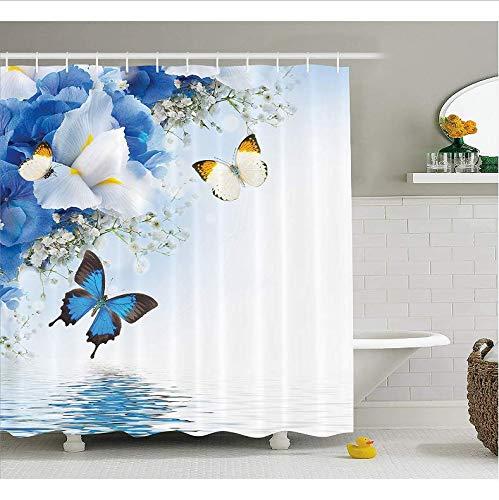 rhang Spa blau weiß Wilde Blumen Monarch gelbe Schmetterlinge Thema Zen Reflexion Floral Badezimmer Dekor mit 12 Haken 71X71 Inch ()