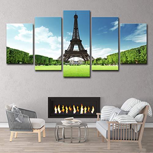 Rahmen Wandkunst Wohnzimmer Dekoration Dekoration Wanddekoration Wandkunst Malerei von Eiffelturm Leinwand 5 Pac/Set,Painting+innerframe,M