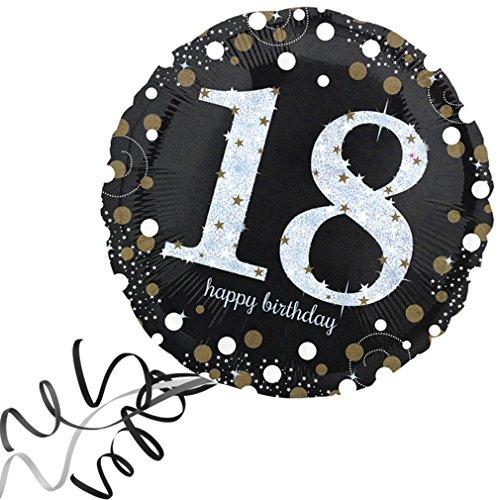 > > > Fertig Heliumbefüllt < < < Großer Folienballon rund 18 - 18. Geburtstag Happy Birthday Ballon mit Helium/Ballongas gefüllt von Haus der Herzen®