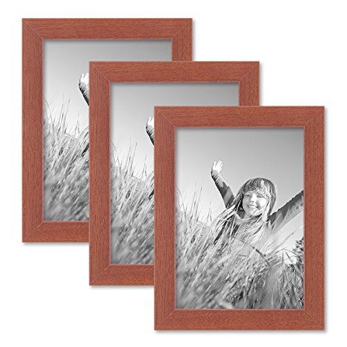 PHOTOLINI 3er Set Bilderrahmen 13x18 cm Kirsche Modern Massivholz-Rahmen mit Glasscheibe und Zubehör/Fotorahmen - Kirsche Rahmen