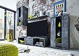 trendteam 1574-001-32 Wohnwand Schiefer Nachbildung, Klarglas Schwarz Siebdruck, BxHxT 217x171x44 cm - 4