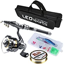 Kit completo de caña de pesca telescópica y carrete de viaje con línea de señuelos de gancho y bolsa de pesca de transporte, con estuche y accesorios., 1.5M/ 4.9Ft