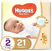 HUGGIES New Born Diapers, Size 2, Carry Pack, 4-6 kg, 21 Diapers