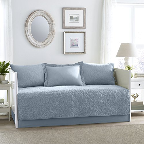 Laura Ashley Felicity 5 Stück Quilt Set, Breeze Blue, Daybed -