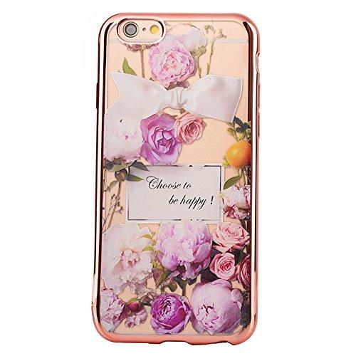 iPhone 6 Plus/6S Plus 5.5 Coque, Voguecase TPU avec Absorption de Choc, Etui Silicone Souple, Légère / Ajustement Parfait Coque Shell Housse Cover pour Apple iPhone 6 Plus/6S Plus 5.5 (Rose romantique Roses pourpres