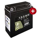 TECNO-GEL Motorrad-Batterie YB5L-B für Honda, Hercules, Malaguti etc, 12V Gel-Batterie 5 Ah, 120x62x129 mm