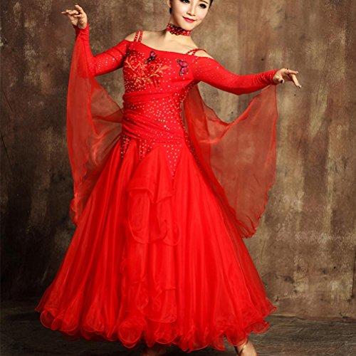 Wangmei Ballsaal Kleider Outfits Frauen Elasthan Tüll Großer Schaukel Applikationen/Strasssteine Performance Kleider Halskette, Red, ()