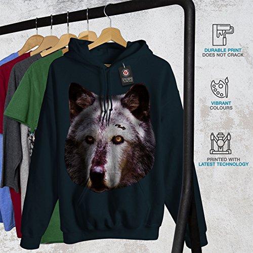 Loup Visage La nature Animal Femme S-2XL Sweat à capuche   Wellcoda Bleu
