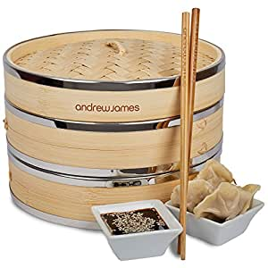 Andrew James Bamboo Food Steamer Set - 2 Tier Basket - Perfect for Cooking Dim Sum Rice and Vegetables - Includes Chopsticks & Dumpling Steaming Papers (9 Inch)